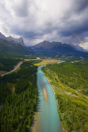 The Bow River in the Canadian Rockies Banff National Park.